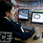 Poste de sécurité DOPC à l ' intérieur du Parc des Prince lors du match de championnat de France PSG /RENNES 36 EME journée le 0707-05-2014